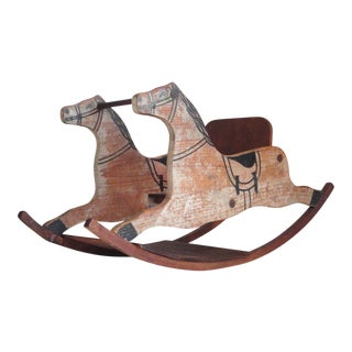 Fantastic 19th Century Original Painted Childs Rocking Horse For Sale