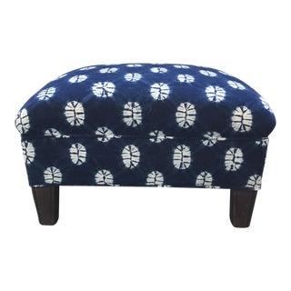 Indigo Ikat Footstool For Sale