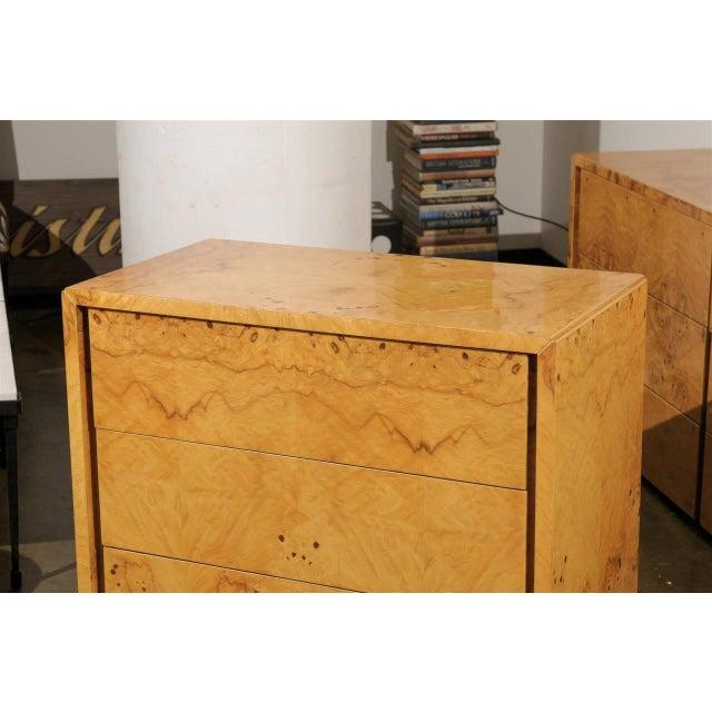 Milo Baughman Milo Baughman Style Burl Wood Suite For Sale - Image 4 of 7