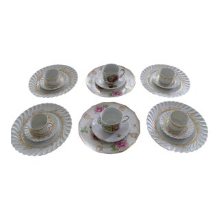 Mixed Match Fine China Dinnerware Size - 18 Pieces For Sale