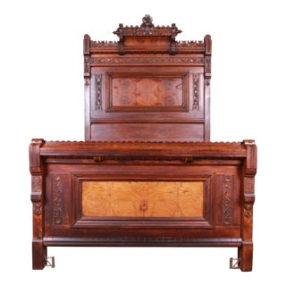 Monumental Eastlake Victorian Carved Walnut and Burl Wood Full Size Bed, Circa 1870 For Sale