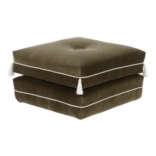 Casa Cosima Turkish Ottoman in Olive Velvet For Sale