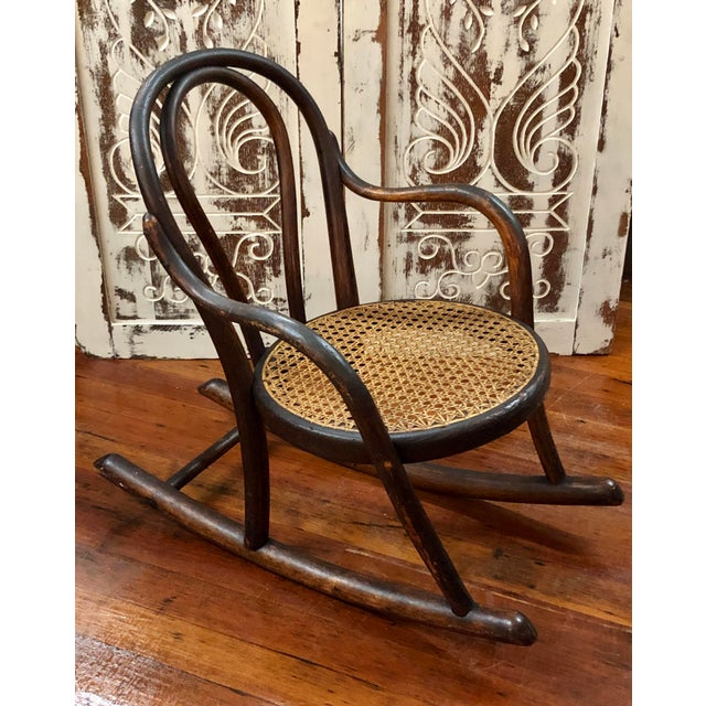 Traditional Late 20th Century Vintage Thonet Bentwood Childs Cane Set Rocker For Sale - Image 3 of 13