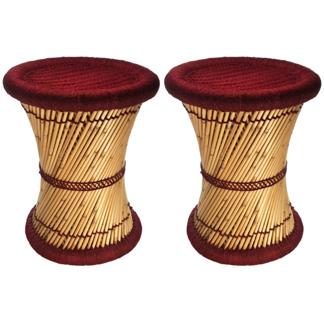 Natural Geo Moray Decorative Maroon Accent Stool - A Pair - Image 1 of 2