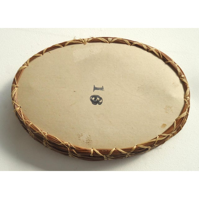 Early 20th Century Antique Pine Needle Basket & Seashell Vanity Tray For Sale - Image 5 of 6