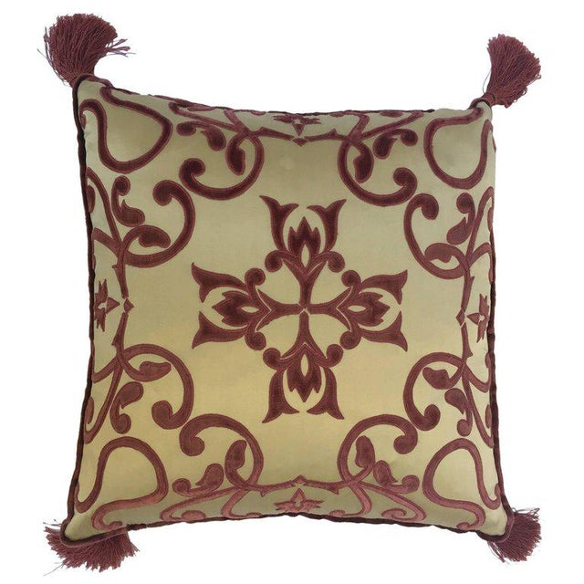 Moroccan Silk Velvet Applique Throw Decorative Pillow With Tassels Moroccan For Sale - Image 10 of 10