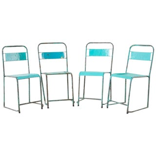 Set of Four French Painted Steel Stacking Garden Chairs For Sale