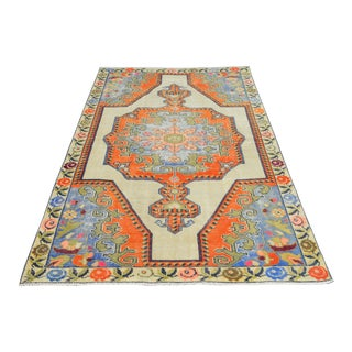 Distressed Area Rug Hand Knotted Faded Colors Oushak Medallion Rug - 4'4'' X 7'1'' For Sale