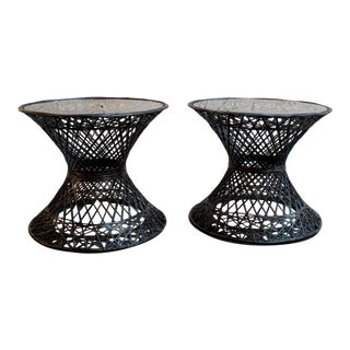 Set of Two Large Russell Woodard Spun Fiberglass Patio Side Tables For Sale