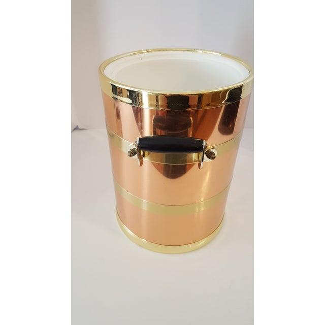 Modern Kraftware Elegance Copper 5 Quart Ice Bucket With Wood Bale Handles For Sale - Image 3 of 7