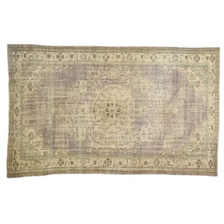 "Vintage Distressed Oushak Carpet - 6'7"" X 10'6"" For Sale"