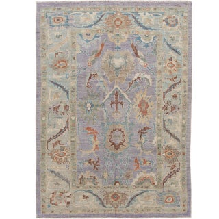Modern Sultanabad Handmade Purple Floral Wool Rug For Sale
