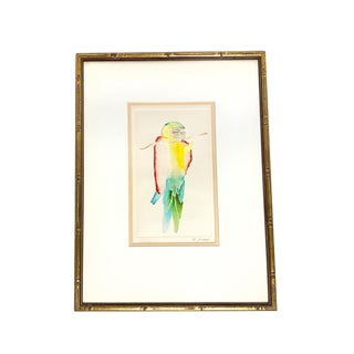 1960s Vintage Guillermo Zuniga Macaw Bird Original Signed and Framed Watercolor Etching For Sale