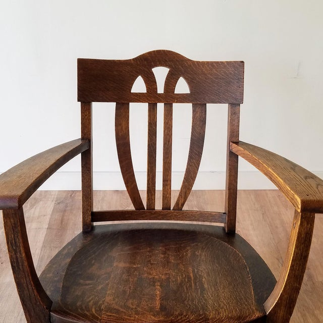 Wood Early 20th Century Arts + Crafts Oak Rocking Chair For Sale - Image 7 of 13