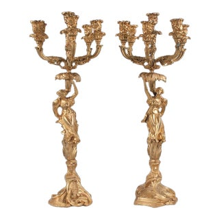 Mid 19th Century Louis XV Style Bronze Ormolu 6 Branch Candelabras - a Pair For Sale