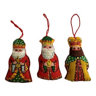 Vintage Handmade Three Wise Men Christmas Ornaments - Set of 3 For Sale