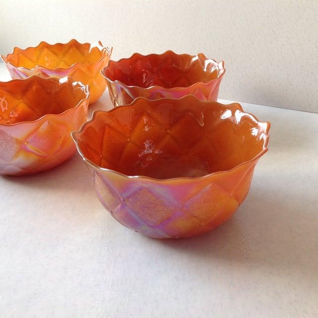 Vintage Orange Carnival Glass Bowls - Set of 4 - Image 3 of 8