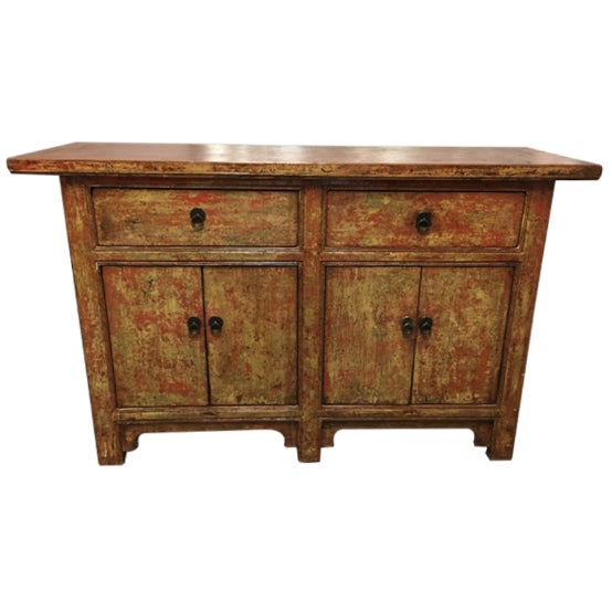 Vintage Asian-Style Distressed Sideboard - Image 1 of 8