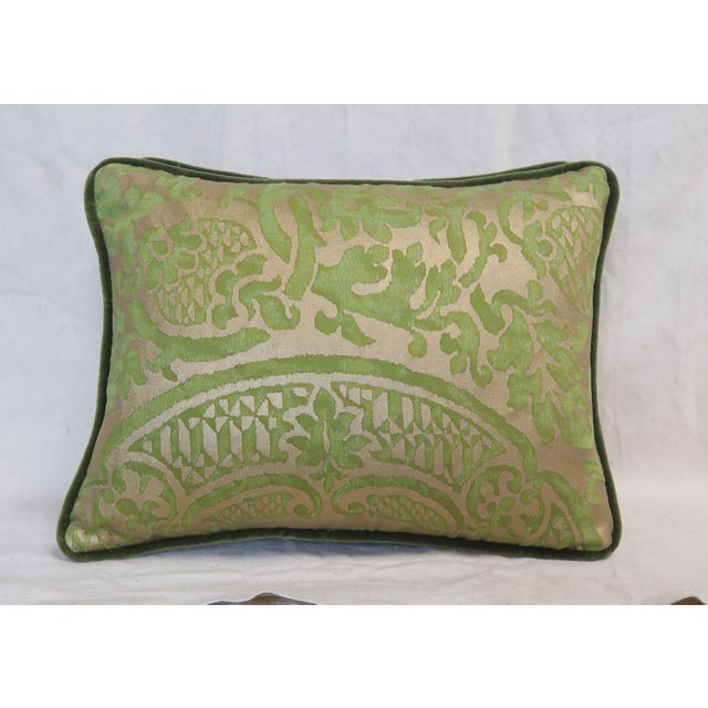 Pair of custom pillows designed with authentic Mariano Fortuny Orsini Patterned Egyptian cotton in green & silvery gold....