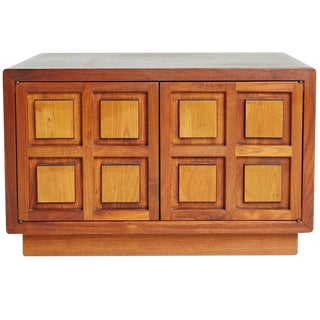 1960s Carved Square Relief Paneled Cherry Side Cabinet