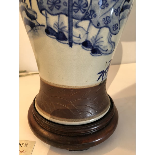 Early 20th Century Chinese Blue and White Vase Mounted as Lamp With Silk Lampshade For Sale - Image 5 of 5