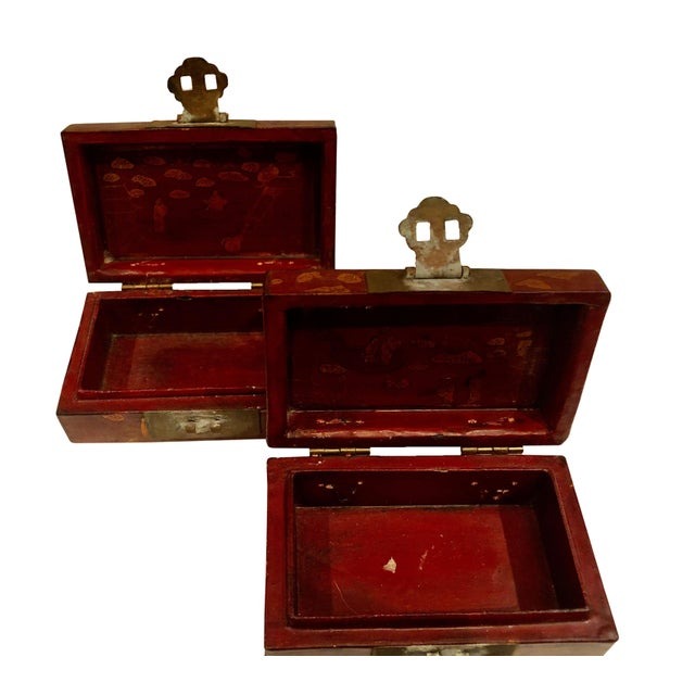Wood Early 19th Century Chinese Boxes With Oriental Figures - a Pair For Sale - Image 7 of 8
