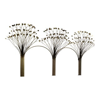 1970s Mid-Century Modern Brass Three Tree Wall Sculpture by Curtis Jere