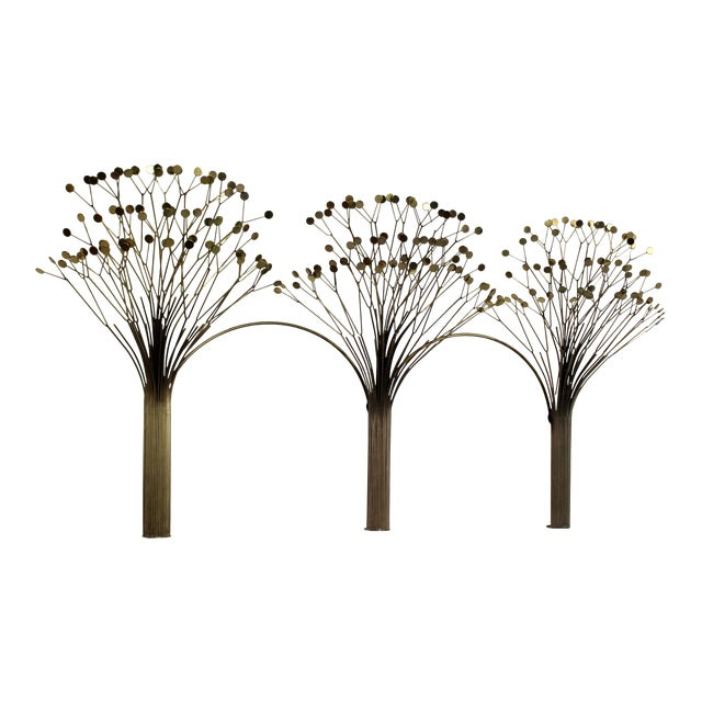1970s Mid-Century Modern Brass Three Tree Wall Sculpture by Curtis Jere For Sale