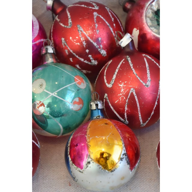 Blue Vintage Colorful Christmas Ornaments W/Box - Set of 12 For Sale - Image 8 of 12
