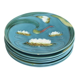 Art Nouveau Majolica Plates - Set of 4 For Sale