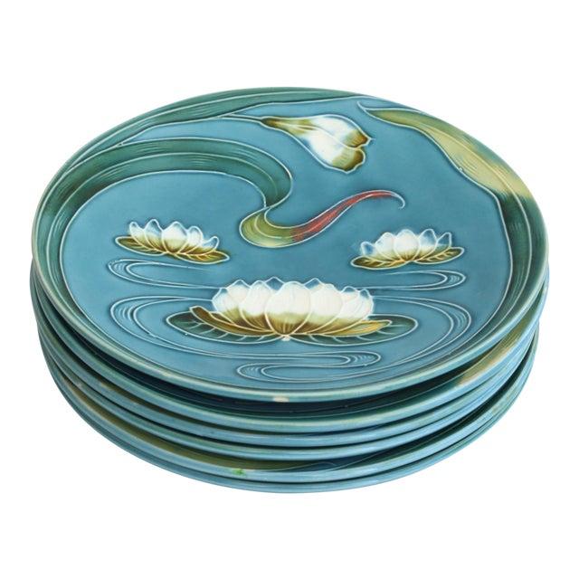Art Nouveau Majolica Plates - Set of 4 For Sale