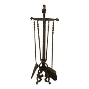 American steel fire tools on stand- Set of 4 For Sale