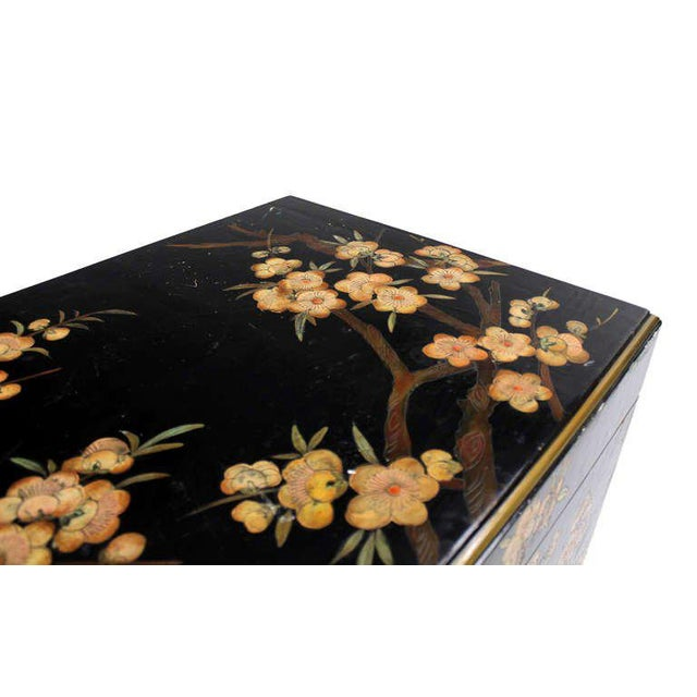 Mid 20th Century Vintage Mid Century Oriental Hand Painted Black Lacquer Bar Chest For Sale - Image 5 of 10