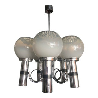 1960s Mid-Century Chrome + Glass Globe Chandelier For Sale