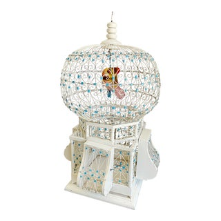 Early 1900s Antique Victorian Dome Bird Cage With Bird For Sale