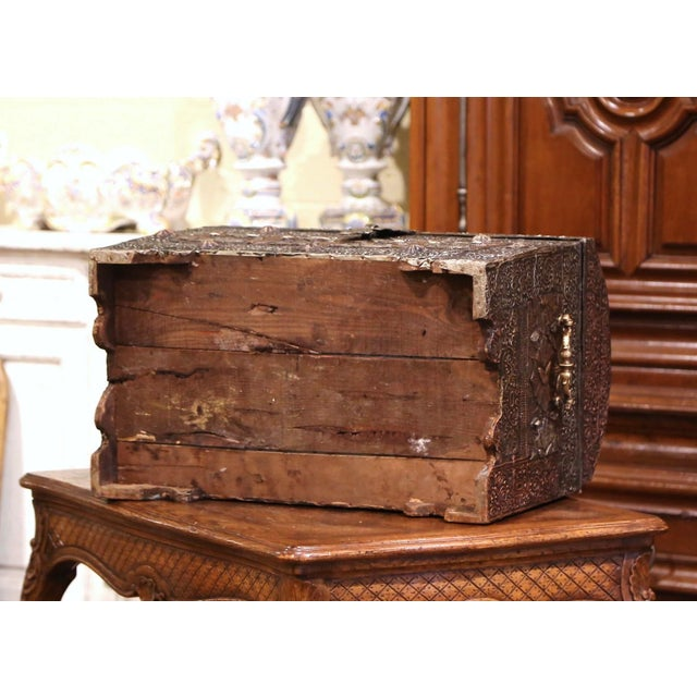 18th Century Spanish Gothic Repousse Silver and Gilt Copper Bombe Treasure Chest For Sale - Image 12 of 13