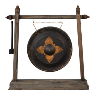 Early 21st Century Thai Metal Gong On Stand - Large