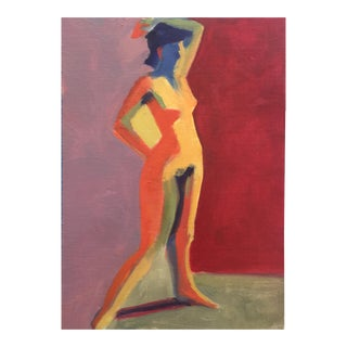 Expressionist Painting, Nude on Red For Sale