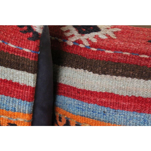 Boho Chic Turkish Kilim Rug Pillows - a Pair For Sale - Image 3 of 5