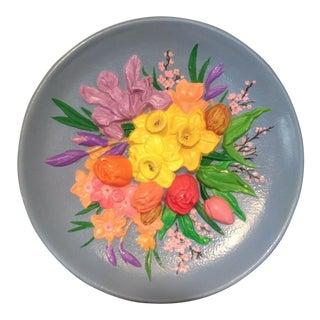 Vintage 3-D Hand Painted Chalkware Floral Bouquet Plate For Sale