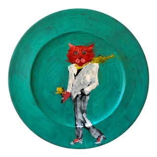 Stylish Cat Painting on Wood Platter For Sale