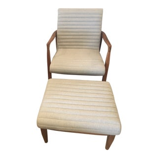 Contemporary Room & Board Lounge Chair & Ottoman - a Pair