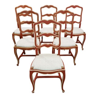 Set of Six Unique Shabby Chic Early 1940s Vintage French Country Oak Ladder Back Dining Chairs Newly Upholstered For Sale