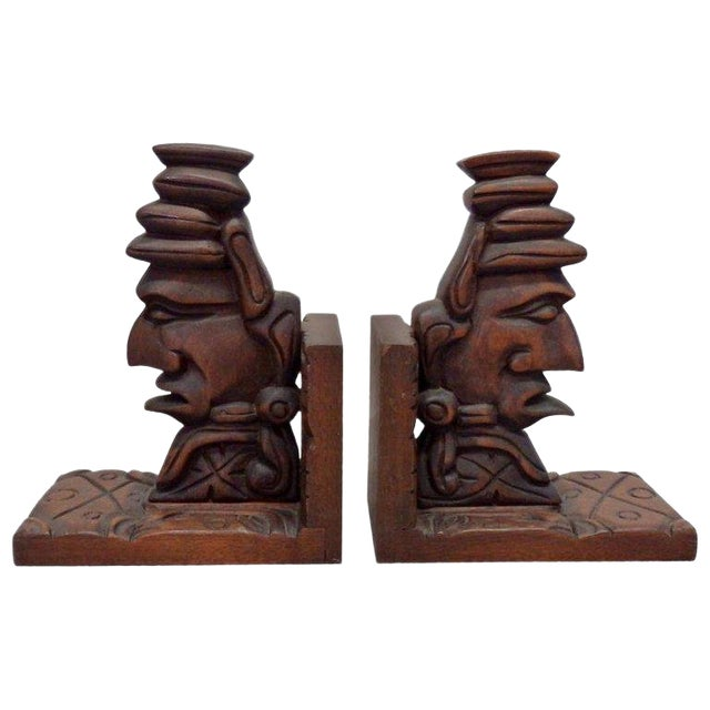 Carved Tiki Bookends - a Pair For Sale