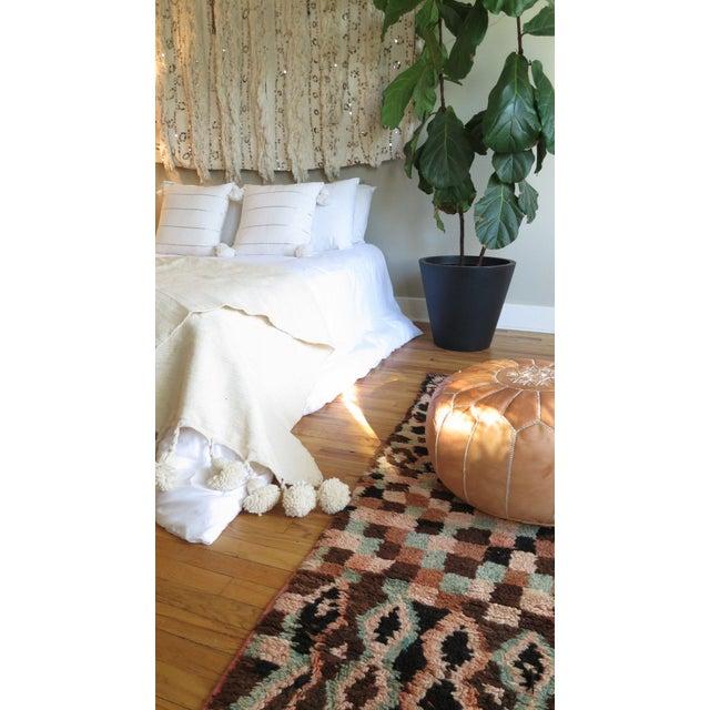 Café Au Lait' Moroccan Pom Blanket For Sale - Image 4 of 5