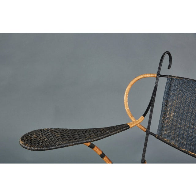 Sculptural Italian Black and Natural Wicker Chair Over a Steel Frame For Sale In Los Angeles - Image 6 of 8
