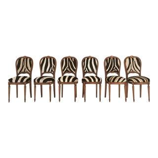 Maison Jansen Louis XVI Dining Chairs in Zebra Hide - Set of 6