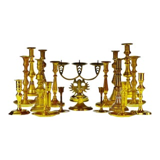 Antique Brass Candlestick Holders - Group of 18 For Sale