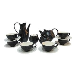Eva Zeisel for Hallcraft Mid-Century Modern Atomic Black Matte Coffee and Tea Set - 16 Piece Set For Sale