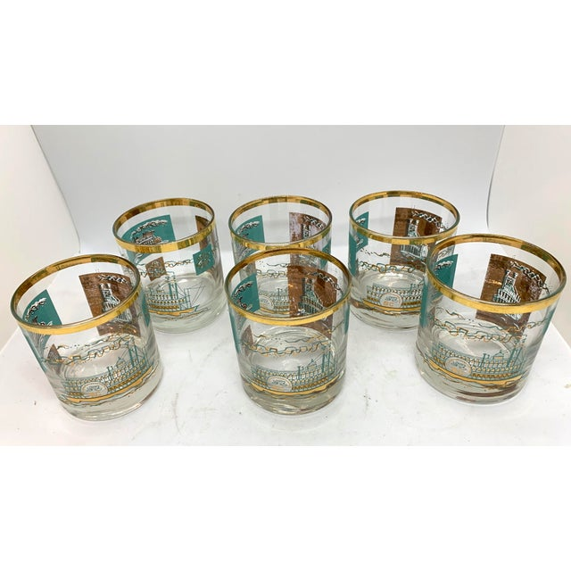 Mid century Culver lowball glasses set of six. These glasses are iconic. They are festive gold and aqua perfect for that...